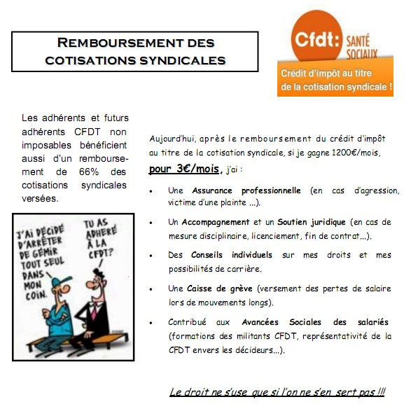 Remboursement cotisations syndicales