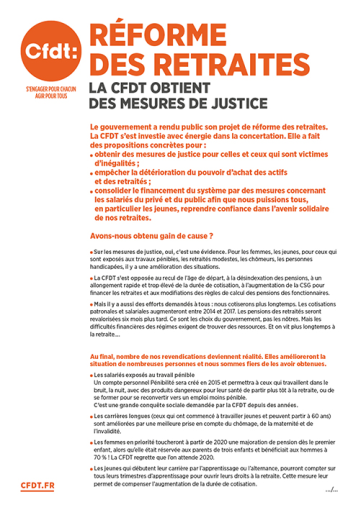 tract retraite CFDT obtient des mesures de justice