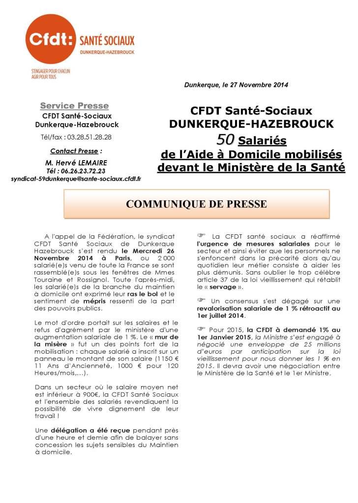 Communiqué de Presse suite à la Manifestation du 26 Novembre 2014