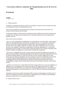 Convention collective nationale de l'hospitalisation privée du 18 avril 2002 - Texte de base