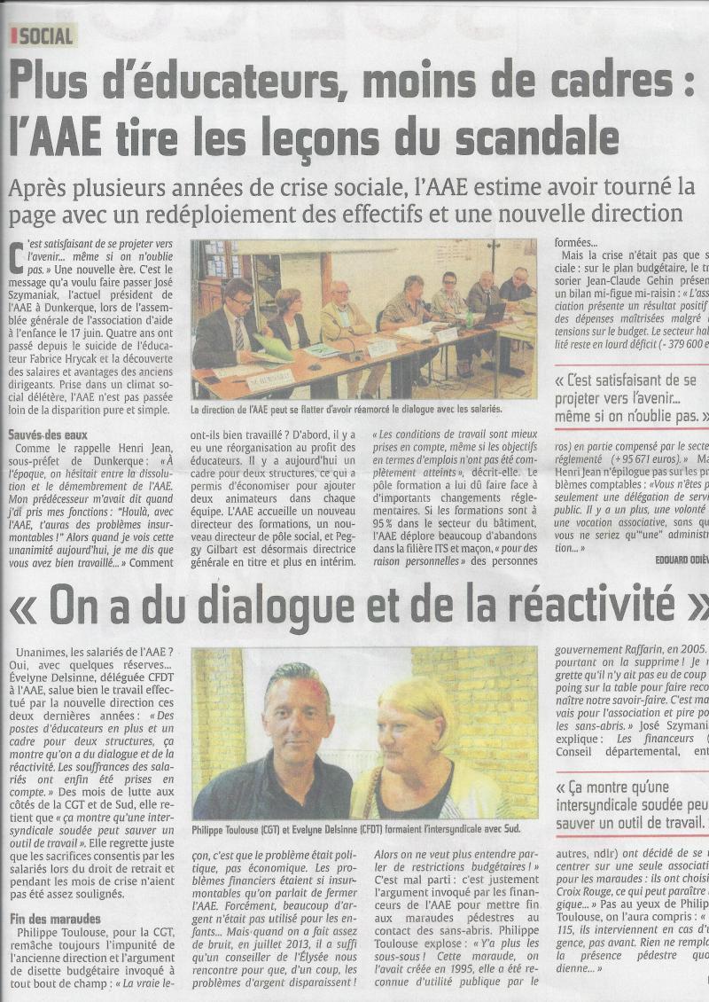 AAE Article le journal PHARE DE DUNKERQUE du 24 Juin 2015