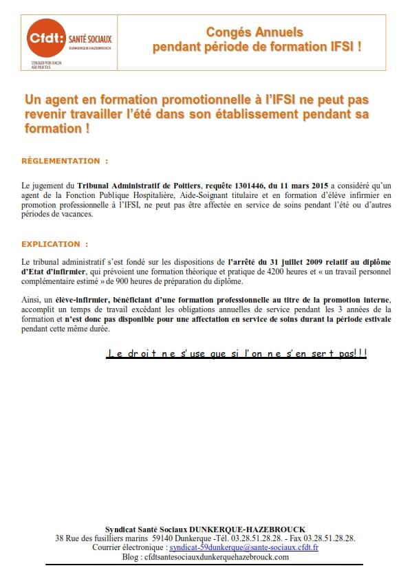 CA pendant Formation IFSI