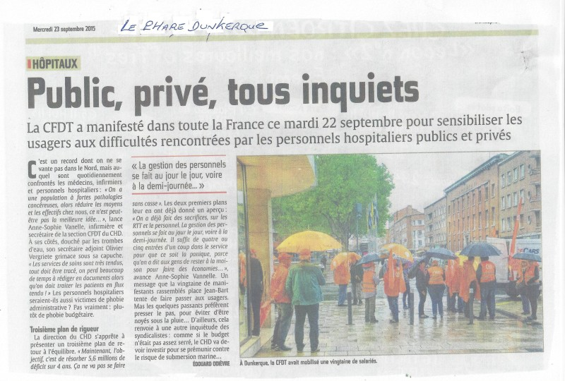 Article du Journal Phare de Dunkerque du 22 Septembre à Dunkerq
