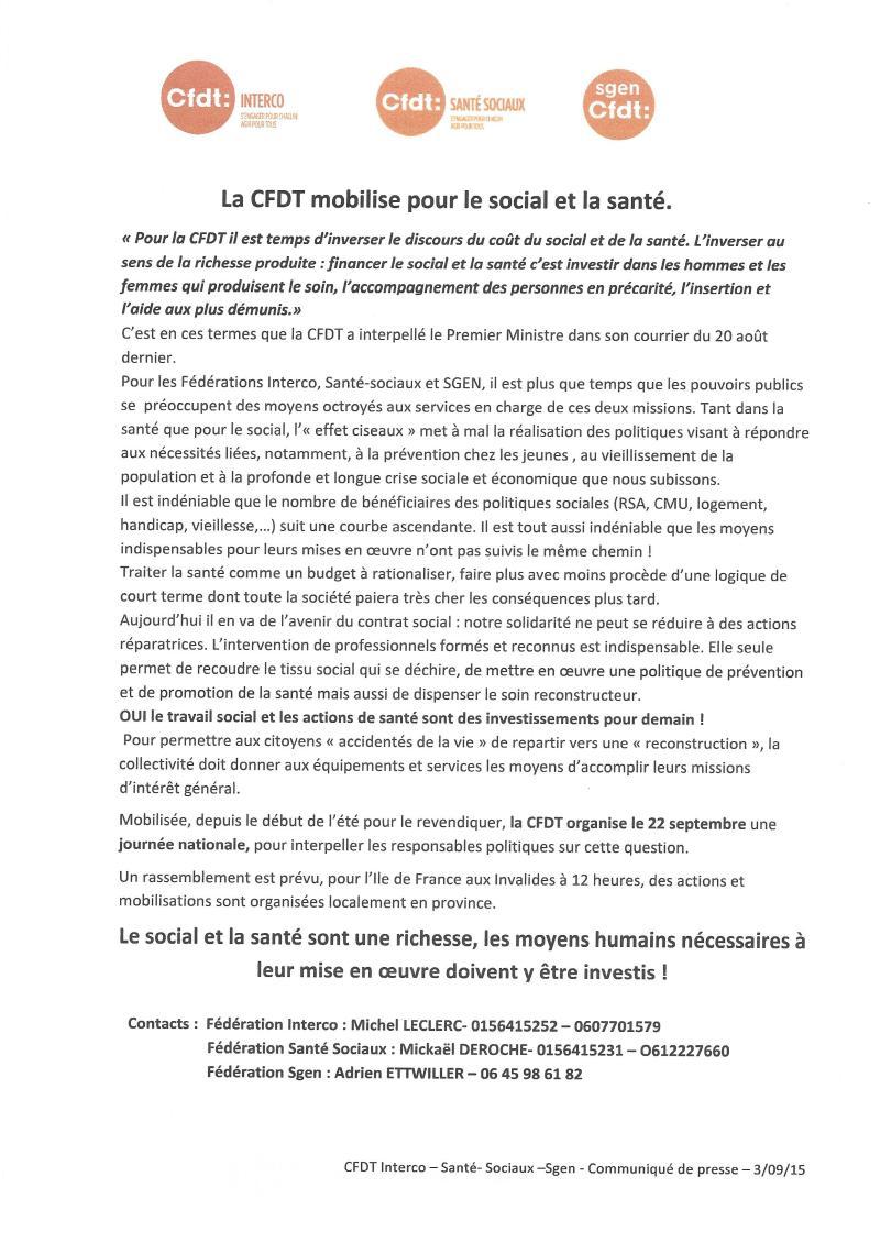 Communiqué de presse Action du 22 Septembre 2015