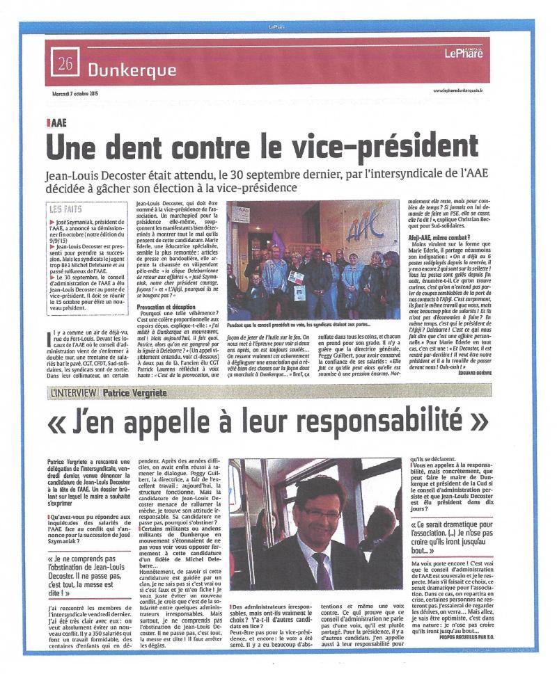 Article du Journal le Phare de Dunkerque du 07 Octobre 2015
